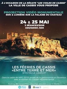 """Mapping vidéo sur la falaise du chateau - """"Cassis entre terre et mer"""""""